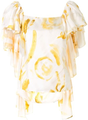 Cult Gaia Mona ruffle sleeve silk top