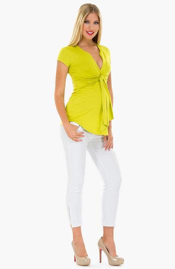 Olian Knot Front Sleeveless Maternity Top