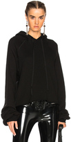 Unravel Cotton Cashmere Cropped Hoodie in Black.