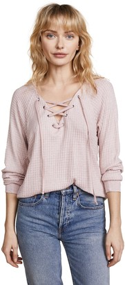 Velvet by Graham & Spencer Women's Texas Laceup Thermal Top