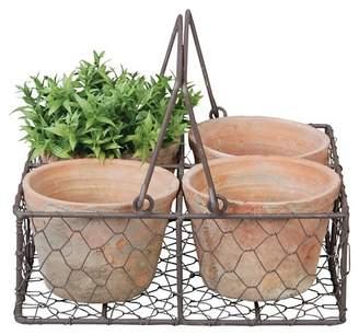 """Esschert Design Square 9.3"""" x 9.3"""" x 3.4"""" - 4 Terracotta Pots In Wire Basket - Brown"""