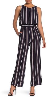 Eliza J Smocked Waist Stripe Jumpsuit
