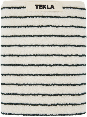 Tekla Off-White and Green Striped Organic Hand Towel