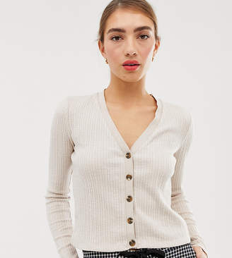 Stradivarius button front ribbed top in beige-Green