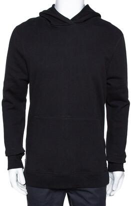 John Elliott Black Cotton Side Zip Detail Hooded Villain Sweatshirt L