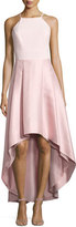 Phoebe Couture Pleated Halter-Neck High-Low Dress, Blush