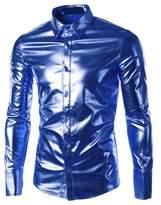 Louis Rouse Shirts Louis Rouse Men's Stylish Metallic Silver Button Down Shirts (L, )