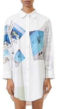 Maje Ciswim Photo Print Oversized Button-Down Cotton Shirt