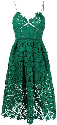 Self-Portrait Floral-Lace Midi Dress