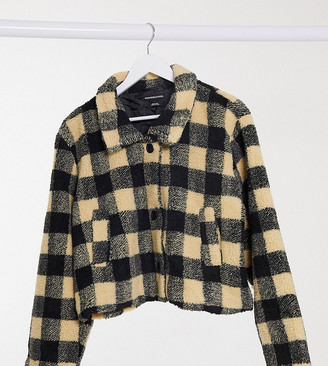 Wednesday's Girl Curve trucker jacket in borg check
