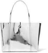 Kara Tie Mirrored-leather Tote - Silver