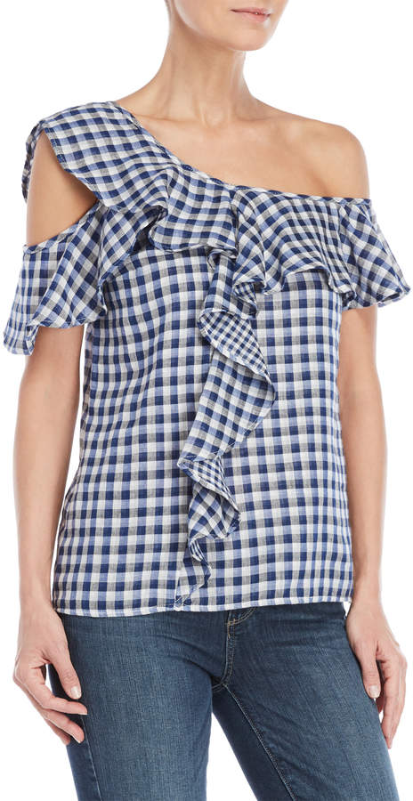 Jessica Simpson Blue Gingham One-Shoulder Ruffle Top