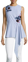 Suno Sleeveless Embroidered Striped Shirting Top, Blue