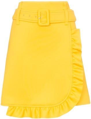 Prada belted ruffle detail skirt