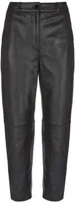 Mint Velvet Black Leather Straight Trouser
