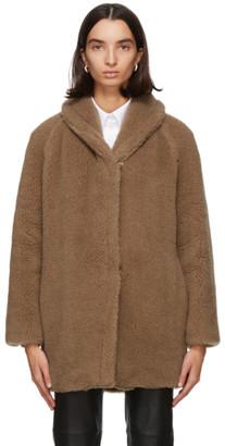 Max Mara Tan Wool and Silk Teddy Coat