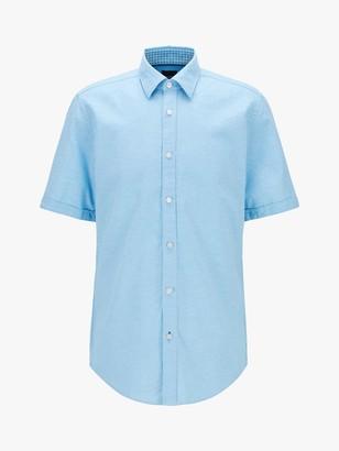 HUGO BOSS Luka Short Sleeve Cotton Linen Shirt, Turquoise/Aqua
