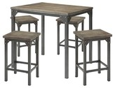 ACME Furniture 5 Piece Percie Industrial Counter Height Dining Set Oak/Black Antique Metal - ACME