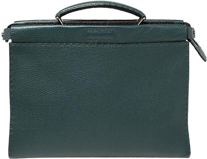 Fendi Dark Green Selleria Leather Peekaboo Iconic Fit Briefcase