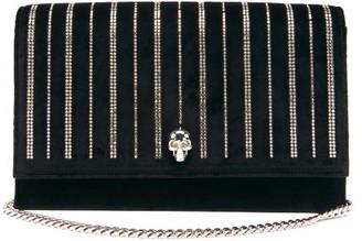 Alexander McQueen Skull Crystal-striped Suede Cross-body Bag - Black