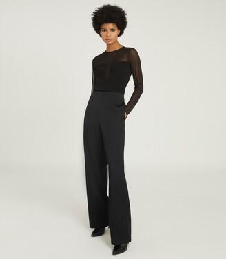 Reiss Lily - Semi Sheer Slim Fit Top in Black