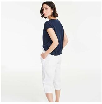 Joe Fresh Women's Drawcord Hem Pants, White (Size S)