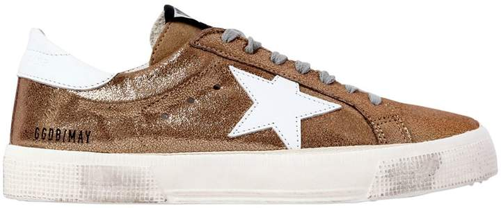 Golden Goose 20mm May Metallic Leather Sneakers