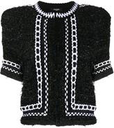 Balmain Cropped Tweed Mesh Jacket