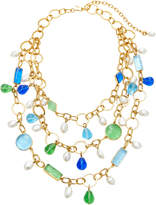 Loulou de la Falaise Three Row 24K Gold-Plated Crystal Necklace