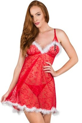 Aerusi Women's Adult Lingerie Night Wear Feather Trim Floral Lace Babydoll Chemise