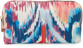 Neiman Marcus Faux-Leather Ikat-Print Cosmetic Travel Case