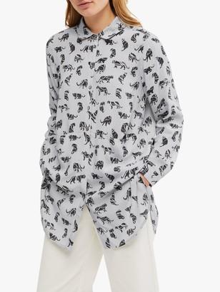 White Stuff Ika Big Cat Print Shirt, Grey