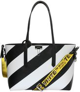 Off White Striped Pvc Tote Bag