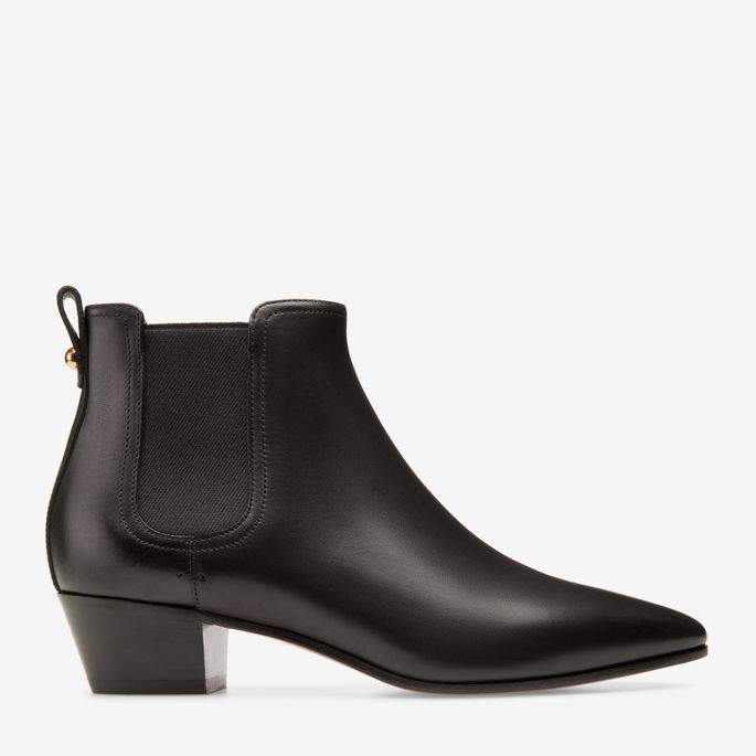Bally Theresia Black, Women's calf leather ankle boots with 35mm heel in black