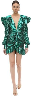 Draped Sequin Embellished Mini Dress