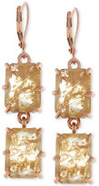 Vince Camuto Rose Gold-Tone Square Crystal Double Drop Earrings
