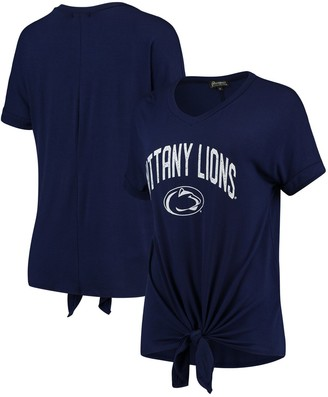 Women's Navy Penn State Nittany Lions On A Break V-Neck Knot T-Shirt