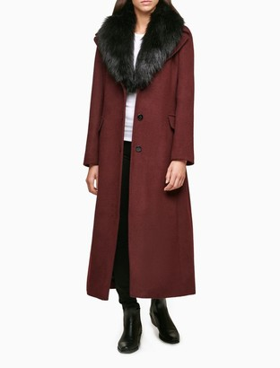 Calvin Klein Faux Fur Shawl Collar Belted Maxi Coat