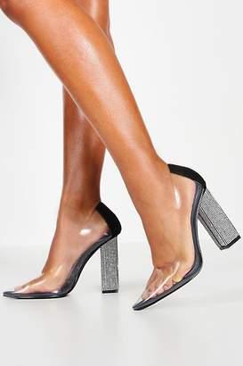 boohoo Diamante Block Heel Pointed Toe Clear Courts