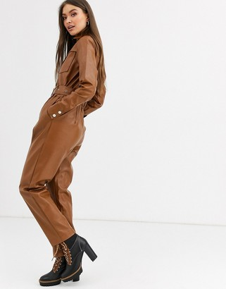 Neon Rose belted boilersuit in faux leather