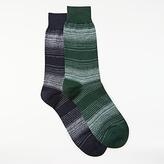 John Lewis Egyptian Cotton Linen Socks, Pack Of 2, Blue/green