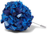 Etro Patterned Silk-faille Flower Lapel Pin - Blue