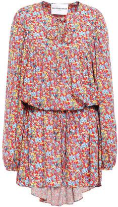 Perseverance Bow-detailed Floral-print Gauze Mini Dress