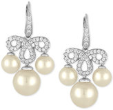 Majorica Sterling Silver Cubic Zirconia Pavé and Imitation Pearl Chandelier Earrings