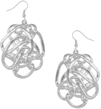 Karine Sultan Sterling Silver Plated Overlapping Oval Dangle Earrings