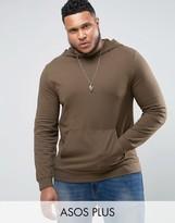 Asos PLUS Lightweight Muscle Hoodie In Brown