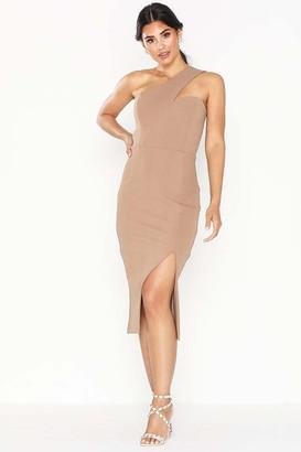 Honor Gold Melissa Mocha One Shoulder Midi Dress With Front Split