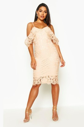 boohoo Lace Open Shoulder Midi Dress