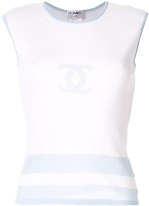 Chanel Pre Owned intarsia CC logo tank top