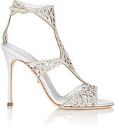 Sergio Rossi Women's Embellished Tresor T-Strap Sandals-Silver